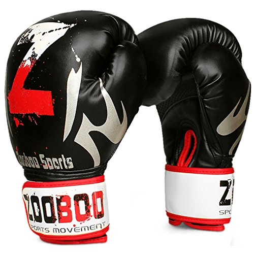 Boxing Gloves, ZOOBOO Martial Arts Heavy Bag Fight Gloves for MMA Muay Thai Sparring Kickboxing Training Punching GYM (Black) – DiZiSports Store