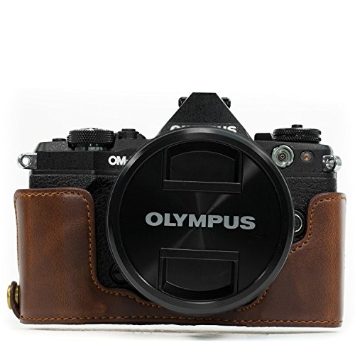 MegaGear Olympus OM-D E-M5 Mark II Ever Ready Leather Camera Half Case and Strap, with Battery Access - Dark Brown - MG967