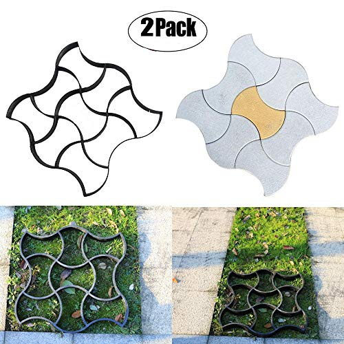 2 Pack Concrete Molds Pavement mold, Ponydash DIY Personalized Manual Patio Cement Stone Path Mould Reusable Stepping Mold Paver Walk Maker-Pattern for Paving Pavement Patio Walkway(Model i style)