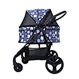 Dog Pushchairs,Shock Absorber Large Rear Wheel, Front Wheel Can Be Switched Between Orientation and Universal, Luxurious Handrail, Detachable Roof,