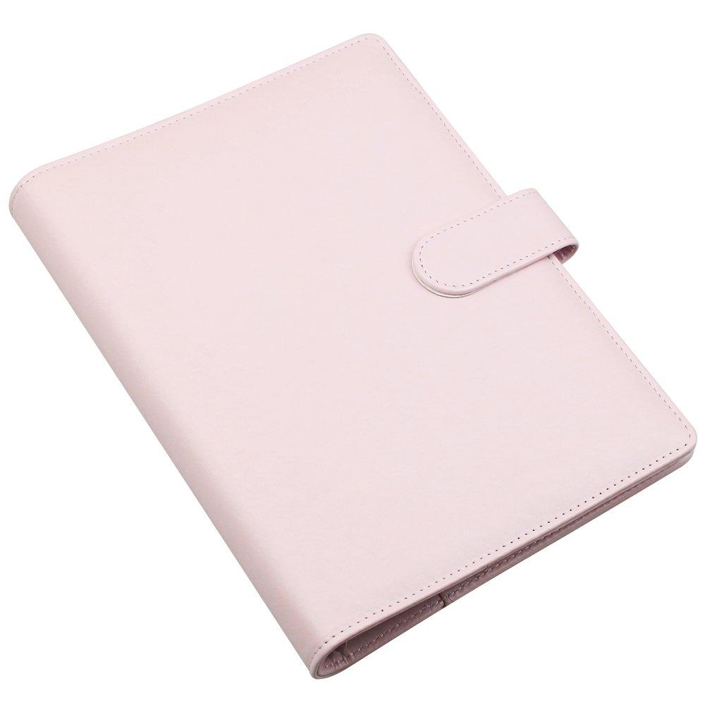 A5 PU Cuir ordinateur portable, Housse 6 pour classeur à anneaux ronde rechargeables pour agenda Filler,écriture Journal Coque avec boucle magnétique ...