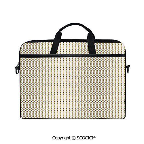 Customized Printed Laptop Bag Notebook Handbag Geometric Convex Wavy Vertical Stripes with Little Diamond Figures Colorful Image Decorative 15