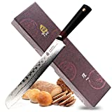 Tuo Cutlery 9 inch Bread Knife - Japanese AUS-10D Damascus Steel - Serrated Slicing Knife with Ergonomic G10 Handle - RING-D Series