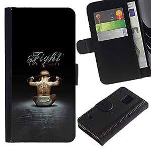 EJOY---Tirón de la caja Cartera de cuero con ranuras para tarjetas / Samsung Galaxy S5 V SM-G900 / --Gangster bebé - Gracioso