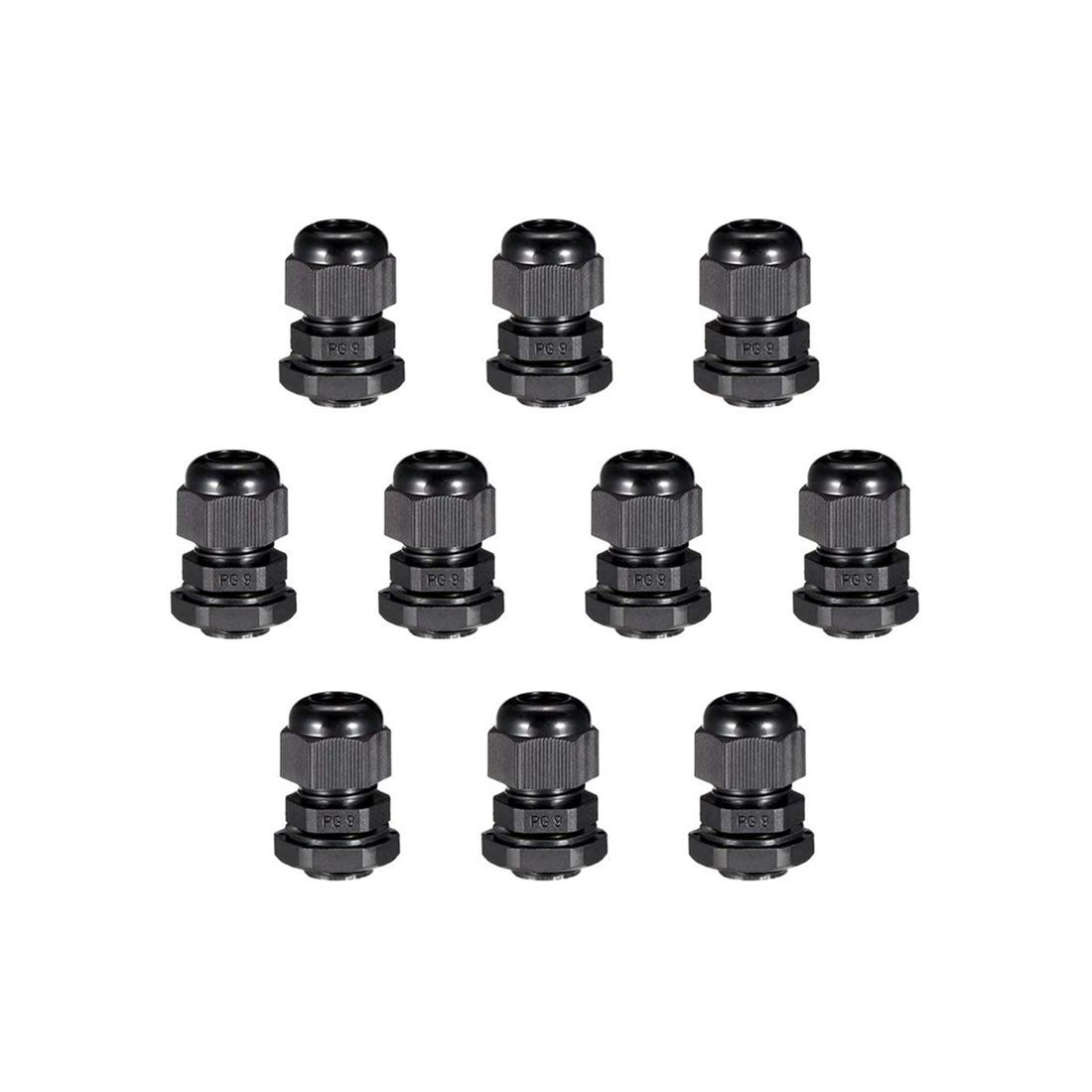 10Pcs PG9 Cable Gland Waterproof Plastic Joint Adjustable Locknut Black for 4mm 8mm Dia Cable Wire