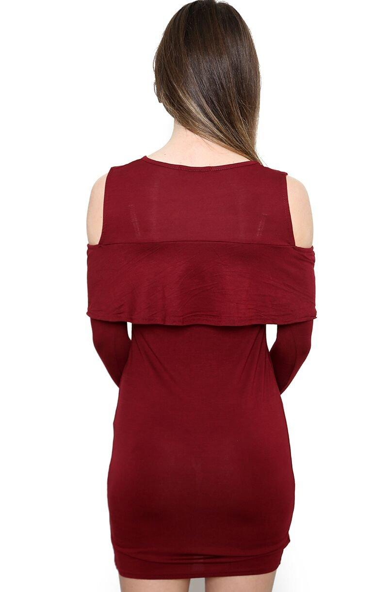 Damen Jersey Kalt Schulter Rüsche Rüschen Bodycon Kleid EUR Größe 36-42:  Amazon.de: Bekleidung