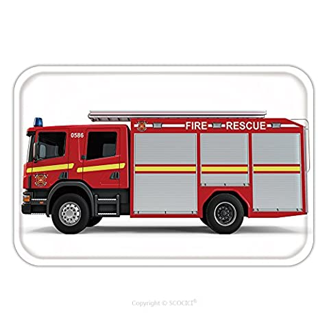 Flannel Microfiber Non-slip Rubber Backing Soft Absorbent Doormat Mat Rug Carpet Red Firetruck Isolated On A White Background 396109285 for - Kashan Red Rug