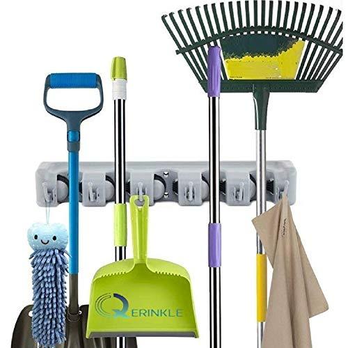 QERINKLE Multipurpose Wall Mounted Magic Mop and Broom Holder Organizer Storage Hooks for Kitchen Garden -Grey Color 5 Slots with 6 Inbuilt Hanging Hooks (BROOM HOLDER)