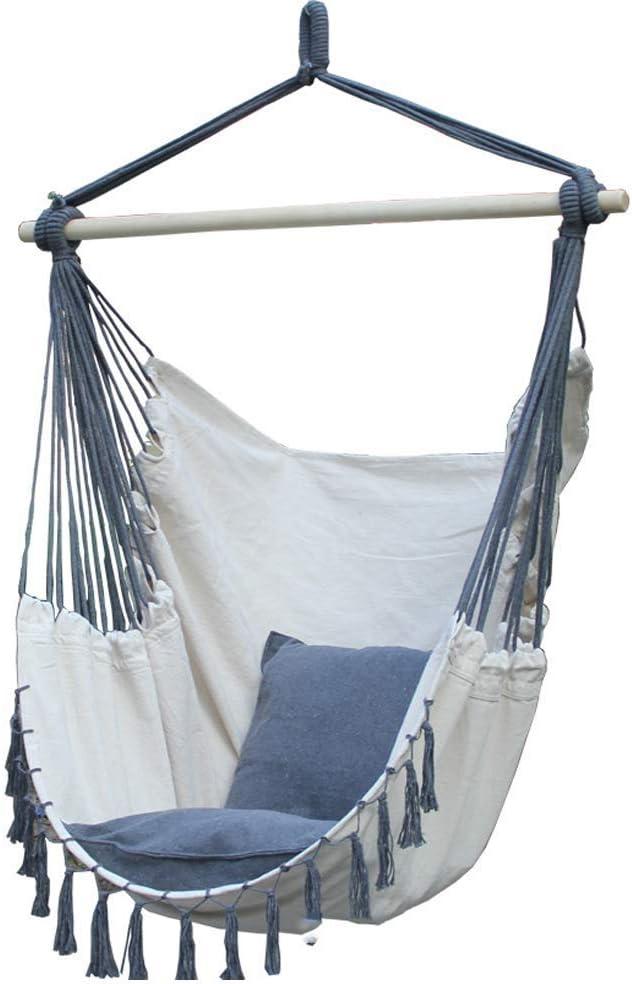 LOY Silla de Hamaca de Cuerda de algodón con borlas Colgantes ...