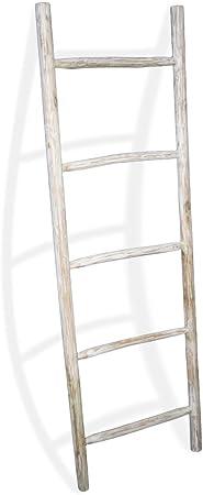 LioLiving®, Toallero/escalera de teca decorativa, blanqueada ...