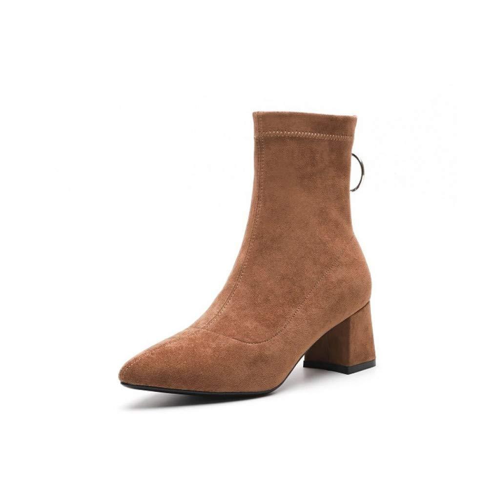 SchuheHAOGE Damen Comfort Schuhe Suede Herbst & Winter Stiefel Stiefel Stiefel Chunky Heel Schwarz Dunkelbraun 2c0d1d