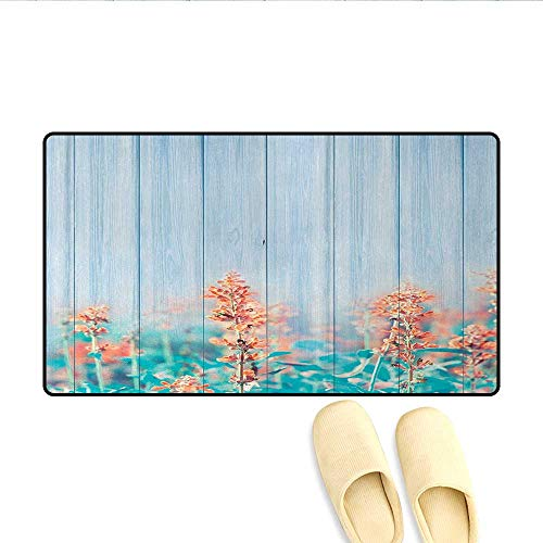 (Bath Mat,Flourishing Flowers Floral Blooms Garden Country House on Oak Plank Image Art,Door Mats for Home,Coral Sky Blue,Size:24
