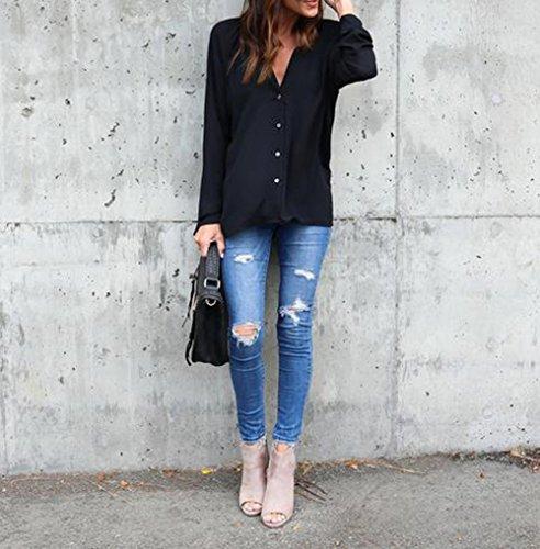 Longue Top Fluide Casual Noir Longues Chic Bevalsa Classique Manches Femme Blouse Chemise Zxd1q