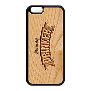 Carved on Wood Effect_Shandy Drinker Black Silicon Case Snap-On Protective Back Cover Rubber Case for Apple? iPhone 6 by Chargrilled + FREE Crystal Clear Screen Protector