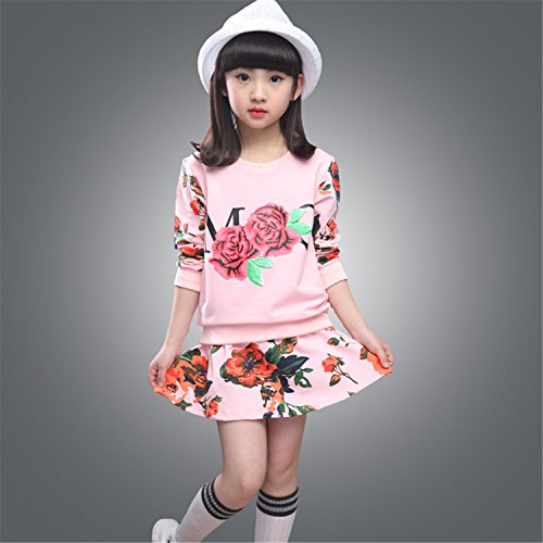 ODFAPP Adorable girls clothing sets floral sweatshirt+skirt for girl kids school uniform clothes set for girls age 8 10 Pink6 - Stores Jonesboro Ar