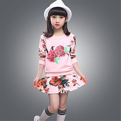 ODFAPP Adorable girls clothing sets floral sweatshirt+skirt for girl kids school uniform clothes set for girls age 8 10 Pink6 - Jonesboro Ar Stores