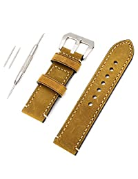 Genuine Leather 24mm Watchband Vintage Watch Strap Wristwatch Band with Lug Tool