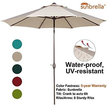 Abba Patio Sunbrella Patio Umbrella 9 Feet Outdoor Market Table Umbrella  With Auto Tilt And Crank