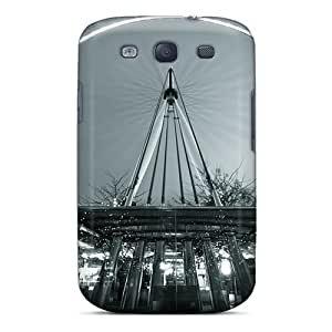 Anti-scratch And Shatterproof Amazing Ferris Wheel In Gray Scale Phone Case For Galaxy S3/ High Quality Tpu Case