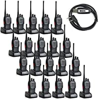 20 Pack Baofeng BF-888S 5W 1500mAh 16 Channel Handheld Walkie Talkie Black + A USB Programming Cable