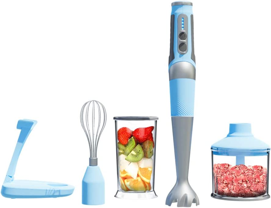 THRITOP Hand Blender, 4-in-1 Immersion Blender,400W Stick Blender Sets, Include Chopper Whisk,BPA Free Beaker Fruit Fish Soups Smoothie Baby Food, black(2 Tpye) (Cordless Hand blender)