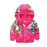 Mud Kingdom Little Girls Jackets Floral With Hood Coats 4T Rose Red