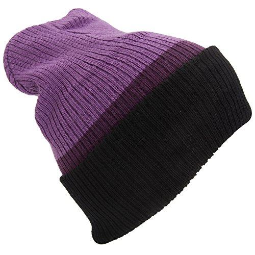 Purple Reversible Knit Beanie - Universal Textiles Adults Unisex Reversible Striped Slouch Beanie Hat (4-In-1 Design) (One Size) (Purple/Plum/Black)