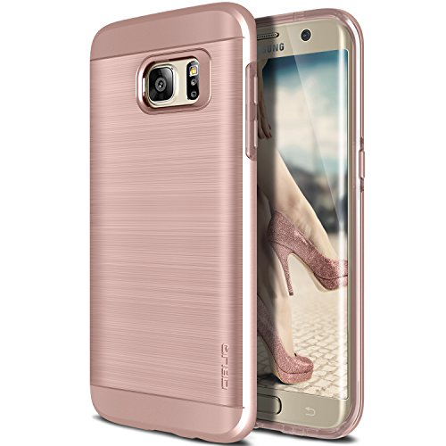 Galaxy S7 Edge Case, OBLIQ [Slim Meta][Rose Gold] Slim Fit Premium Dual Layer Protection Case with Metallic Brush Finish Back with Shock Absorbing TPU Inner Layer for Samsung Galaxy S7 Edge