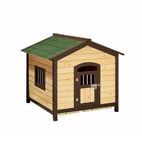 Casa de mascotas, caseta de Perro de Madera sólida Perrera carbonizada Jaula para Perros Jaula