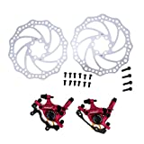 Cable-Actuated Hydraulic Integrated Bicycle Front / Rear Disc Brake Set MTB Mountain Bike 160mm (Red Set)