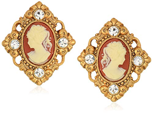 Gold Earrings Cameo - 1928 Jewelry Women's 14K Gold-Dipped Cameo and Crystal Accent Clip Earrings, Orange, One Size