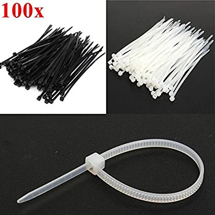 4inch High Quality Strong Nylon Zip Ties for Cable Management and Garden Tie 100x2.5mm Tie Wraps 100 Pack of Black Cable Ties