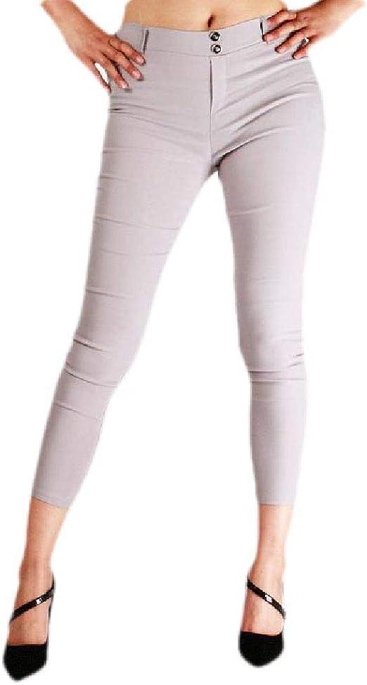 FRPE Women's Skinny Solid High Waist Butt Lift Cropped Pants
