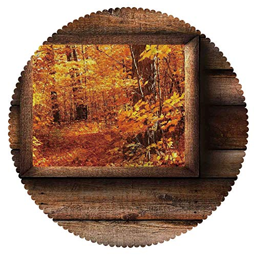(Mildewproof Round Tablecloth [ Fall Decorations,Fall Foliage View from Square Shaped Wooden Window Inside Cottage Photo,Orange Brown ] Tablecloth)
