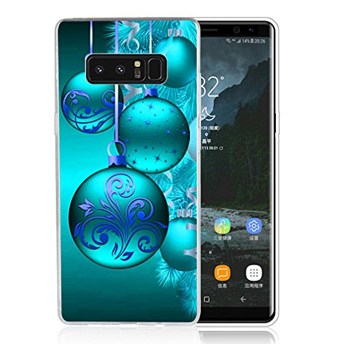 Galaxy Note 8 Case Christmas, Samsung Note 8 Case, LAACO Beautiful Clear TPU Case Rubber Silicone Skin Cover for Samsung Galaxy Note 8 (2017) - Aqua Blue Fantasy Christmas decoration ball