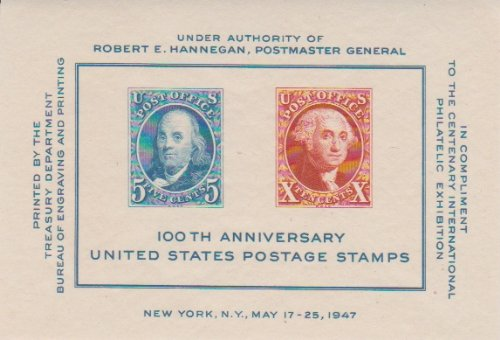 USA Plate Block Scott #948 100th Anniversary of US Postage Stamps Issued 1947