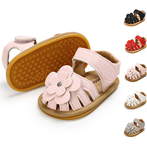 Infant Girls Sandals - Meckior Baby Toddler Girls PU Leather Soft Closed Toe Summer Sandals Flower Princess Flat Shoes (6-12 Months M US Infant, A-Pink)