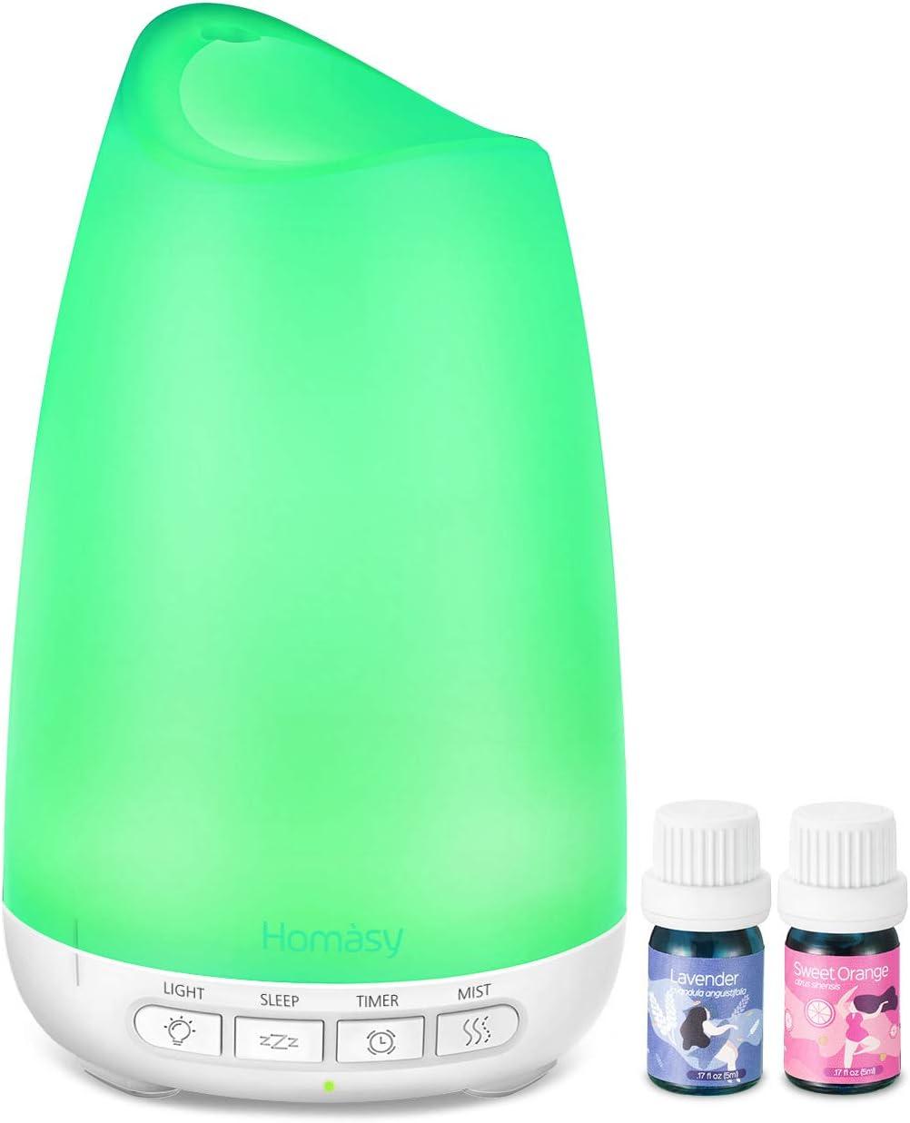 Homasy 150ml Difusor de Aroma con Aceites Esenciales de 2 * 5ml ...