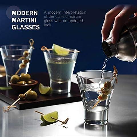 Bormioli Rocco 6-Pack YPSILON Cocktail Glasses set – 8.5 Ounce, Bar Glass, Stemless Martini Glasses for All Alcoholic…