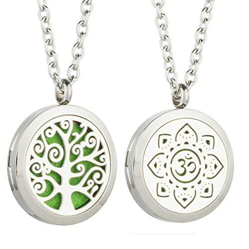 2PCS Essential Oil Diffuser Flower Necklace – Best Aromatherapy Pendant – Stainless  ...
