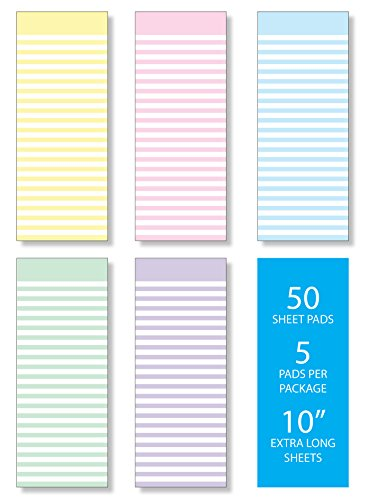 Pastel Scratch Pad - Memo Note Pads, Pack of Five Pastel Candy Stripes Design, 3.5