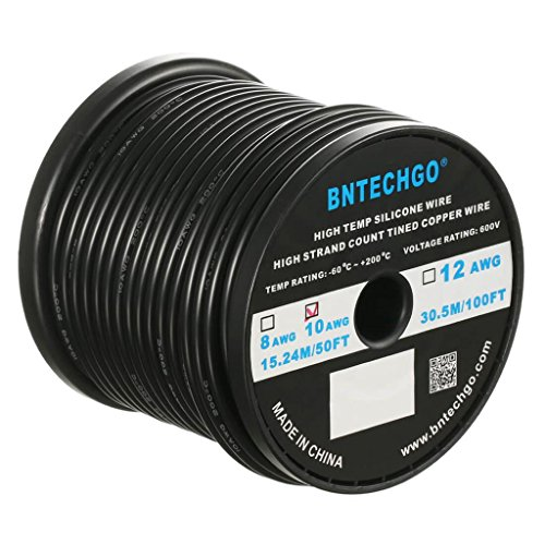 BNTECHGO 10 Gauge Silicone Wire Spool Black 50 feet Ultra Flexible High Temp 200 deg C 600V 10 AWG Silicone Rubber Wire 1050 Strands of Tinned Copper Wire Stranded Wire for Model Battery Low Impedance