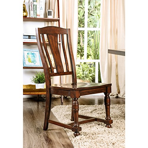 Furniture of America Lumin Rustic Country Style Wooden Brown Cherry Dining Chair (Set of 2)