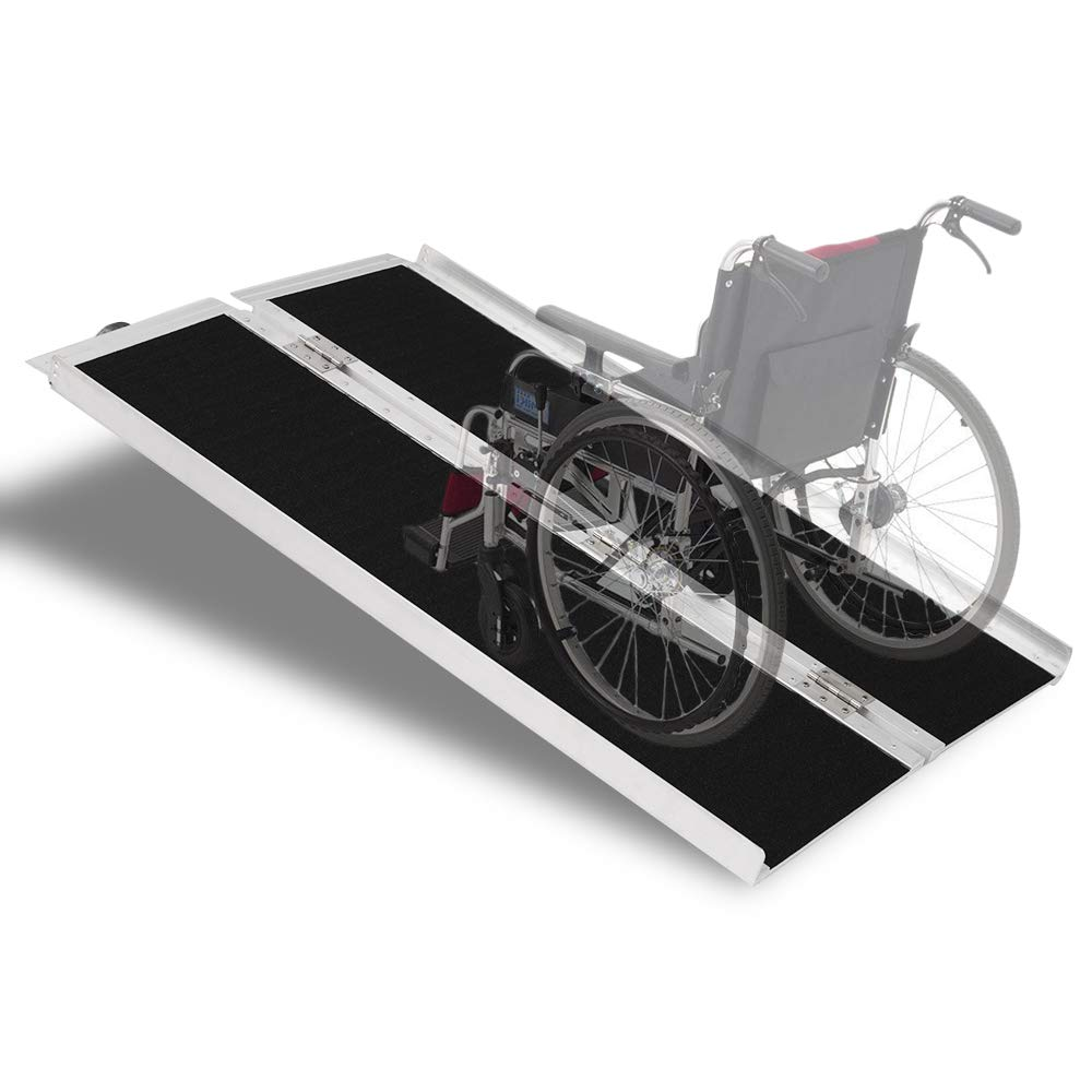 Mefeir 4' Wheelchair Ramp Threshold Portable Ramps 4ft for Home Steps Doorway Stairs Aluminum Handicap Metal House Mobile Porch Temporary Multifold Disable No-Sild Scooter Ramps by mefeir