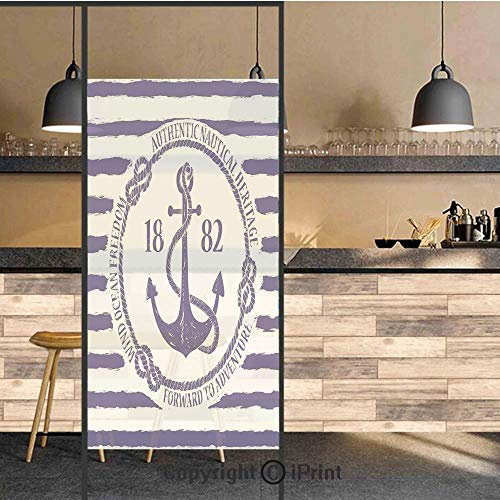 3D Decorative Privacy Window Films,Old Authentic Nautical Emblem with Anchor on a Striped Background Freedom Heritage,No-Glue Self Static Cling Glass film for Home Bedroom Bathroom Kitchen Office 24x4
