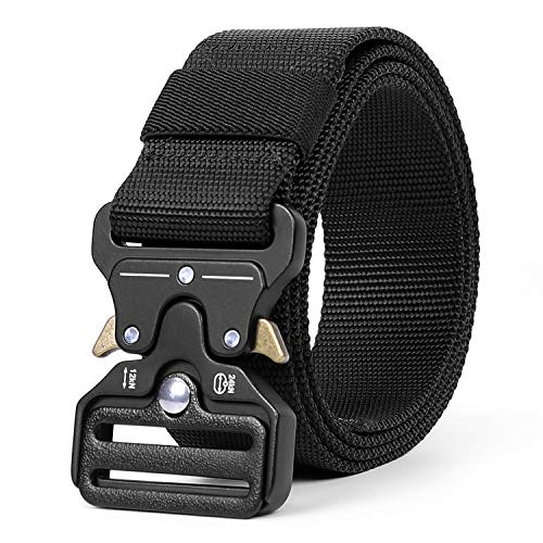 WERFORU Men Nylon Belt, Black Nylon Webbing Waist Belt for Men, Heavy Duty Nylon Web Belt, Military Style Casual Outdoor Tactical Weave Belt with Metal Buckle