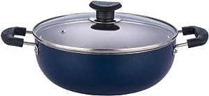 Vinod Non Stick Deep Kadai with Lid 3.1 Liters, Blue, 3.1 litres