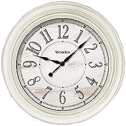 Westclox 32213AW-20 20-Inch Antique White Farmhouse Wall Clock