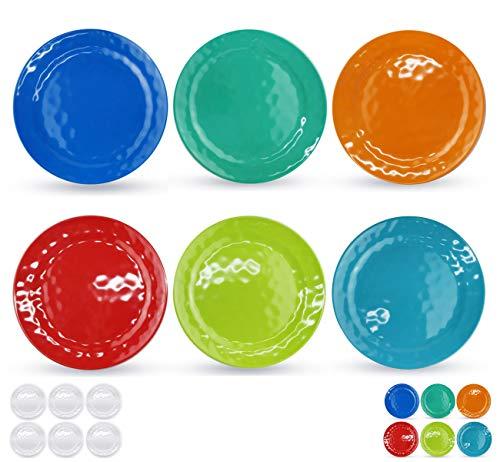 Melamine Plates set -10inch 6pcs 100% Melamine Dinner Plates for Everyday Use, Break-resistant and Lightweight, Multi Color