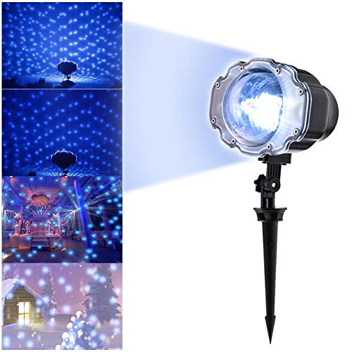 Ai CAR FUN Christmas Snow Projector Lights Waterfroof Projection Light Night Lighting Lamp Star Projection Lamp Pattern Ripple Lamp Film Projector Lamp Marine Mini Snow Light Snowflake Lamp ()